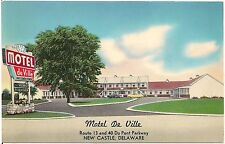 Motel De Ville in New Castle DE Roadside Postcard