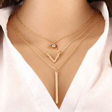 3 Layer Necklace with Diamond Triangle, V and gold bar Pendant - 27cm long