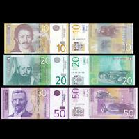 SERBIA Set 3 PCS, 10, 20, 50 Dinara  Pick-54-55-56  UNC