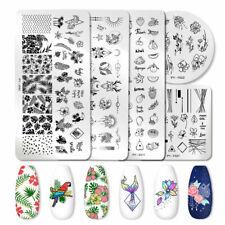 Pict que estampacion uñas placas de acero inoxidable para Arte de uñas Plantillas de hojas de fruta