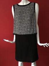 Almacén Blanco Negro Estampado de Leopardo Recta Cremallera Trasera Vestido Talla 14 BNWT