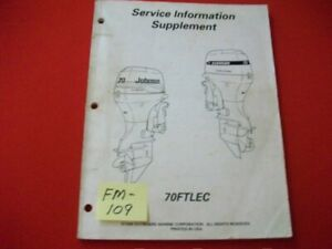 1998 EVINRUDE/JOHNSON/OMC O/B 70FTLEC 4-STROKE SERVICE MANUAL SUPPLEMENT VGC
