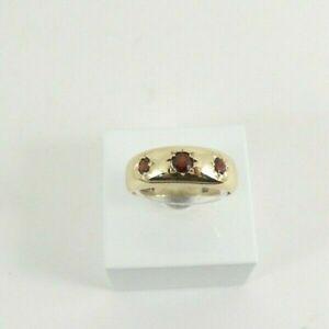 9ct Gold Garnet Band Three Stone Hallmarked Ring Size N 1/2 Gift Box
