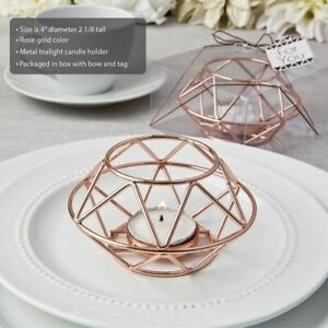 10-72 Geometric Design Rose Gold Metal Candles - Wedding Party Favors