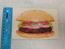 American Greetings VTG Tri-fold Note Card Hamburger w/ Pickle Seal Sticker