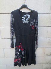 Robe DESIGUAL noir Happy every time coton manches longues taille L