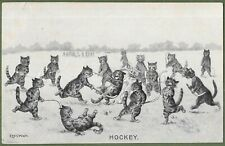 Signed Louis Wain. Scarce Embossed Postcard of Cats Playing Hockey, Posted 1910.