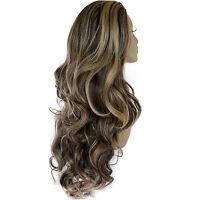 Ladies 3/4 WIG Half Fall Clip In Hair Extension WAVY Dark Brown/Blonde #4/613