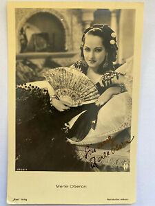 Merle Oberon - Film    - original Autogramm   - Größe 14 x 9 cm