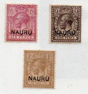 3 very nice unused Nauru George V overprinted issues