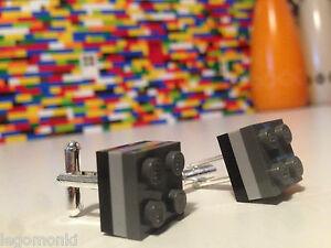 Pair Handmade MonkiStuff Cufflinks, Black & Grey made using LEGO® Bricks