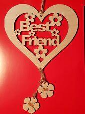 Personalised Best Friends Wooden Hanging Heart Gift Best Friends