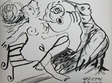 ABSTRACT SURREALISM BIRD NUDE WOMAN INK DRAWING SIGNED