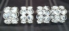 Clear Crystal Beads Napkin Rings - Set Of Four Silver-tone Frame