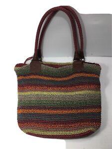 The SAK Large Cambria Crochet Multi Color Gypsy Stripe Boho Shoulder Bag Tote