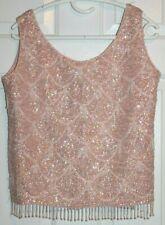 Vtg 1950s Mays Ladies Top Beaded Sequin Blouse Camisole M Hong Kong Wool Silk