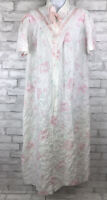 Vintage Katz White Pink Seersucker Floral House Dress Coat Zip Women's Size L/XL