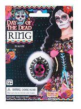 Giorno dei Morti Cranio Anello Halloween Fancy Dress accessorio nero rosa