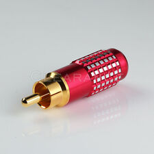 Red Premium RCA Male Plug Gold Solder Type Audio Video Adapter Connector Cable