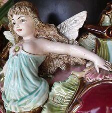Early Eichwald Bohemia Majolica Angel/Cherub Jardiniere/Garden Seat/Plant Stand