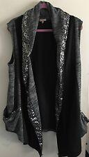 JUICY Couture Sz L Grey Black Bling Trim Open Cardigan Oversize Vest Pockets