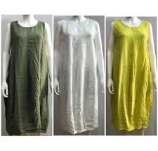 New One Size WOMEN Italian Long Lagenlook Plain Boho Pockets Linen Tunic Dress
