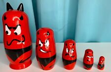 Devil Nesting Dolls Wooden Unique Cute Cool