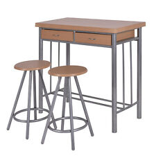 3 Piece Dining Set Table and 2 Chairs Dinette Kitchen Breakfast Metal Wood New