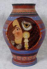 Antique Mexican Tourist Pottery Vase Tlaquepaque Aztec Eagle & Jaguar Warrior