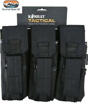 Black Compatible MOLLE Triple Duo Mag Pouch Army  Pouch RAF Airsoft Air skirmish
