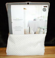 """THRESHOLD WHITE & SILVER SPARKLE EMBROIDERED OBLONG TABLECLOTH 60"""" X 120"""" NEW"""