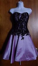 Camille La Vie Black Lace over Lavender Prom Evening Party Corset Dress Sz 8 EUC