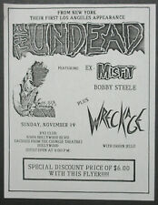 The Undead Xyz Club Hollywood 1989 Punk Concert Flyer Green Jello Misfits Steele