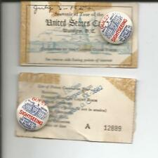 TOUR OF THE UNITED STATES CAPITOL 1950 2 SOUVENIR TICKETS WITH PINBACKS