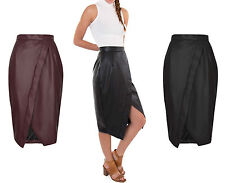 Ladies Long Wrap Cross Over Front Fake Leather Pencil Celeb Calf Length Skirts