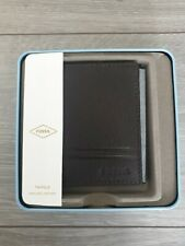 FOSSILL Mens Wilder Dark Brown Trifold Leather Wallet BNWT RRP £48