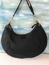 $850 GUCCI Black Canvas Hobo Shoulder Bag Striped Strap Leather Trim SALE! EUC