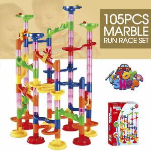 105Pcs DIY Marble Run Race Construction Maze Ball Track Building Block Kids Toy