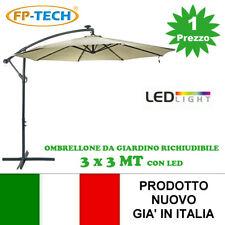 OMBRELLONE DA GIARDINO 3X3 DECENTRATO CON PANNELLO SOLARE E 24 LED GIA MONTATI
