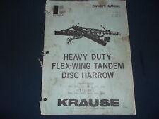 KRAUSE FLEX-WING TANDEM DISC HARROW OPERATION & MAINTENANCE PARTS MANUAL BOOK