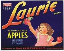 Laurie, Original Washington Pomme Caisse Label, Girl, Roi Fruits et Produire Co