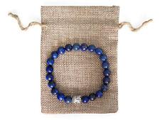 Silver Buddha, Lapis Lazuli Beaded Semi Precious Bracelet & Jute Gift Bag