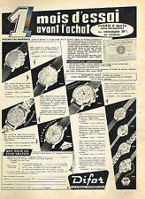 G- Publicité Advertising 1959 Les montres Difor