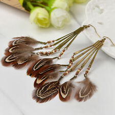Retro Boho Bead Tassel Drop Feather Tribe Dangle Hook Earring Charm Jewelry Gift
