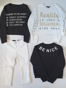 Girls Newlook Bundle White Skinny Jeans with 3X Jumpers Age 12 years
