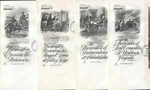 Lot of 4 Official First Day Covers Philadelphia George Washington Independence