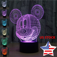 3D LED 7Color Ombre Illusion Night Light Mickey Mouse Lamp Festival Kids Gift US