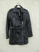 AllSaints Black Whitmer Leather Biker Coat US  Size-2   NWT/$725