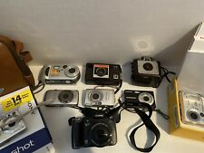 Lot (9) Vintage & Digital Cameras Canon Sony Kodak Olympus As Is Not Tested