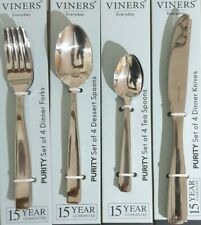 Viners Purity Set of 4 Stainless Steel Spoons Forks Knives Tea Spoons